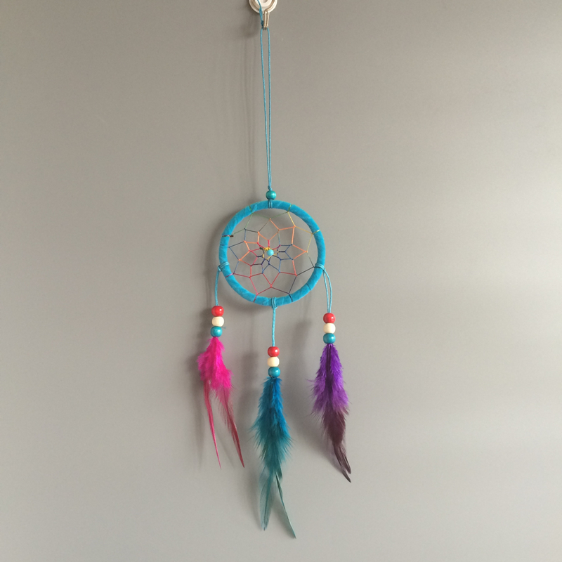 9cm Diameter Small Dream Catcher Car Home Hanging With Feathers New Arrival Free Shipping Wind Chimes & Hanging Decorations Home & Garden - title=