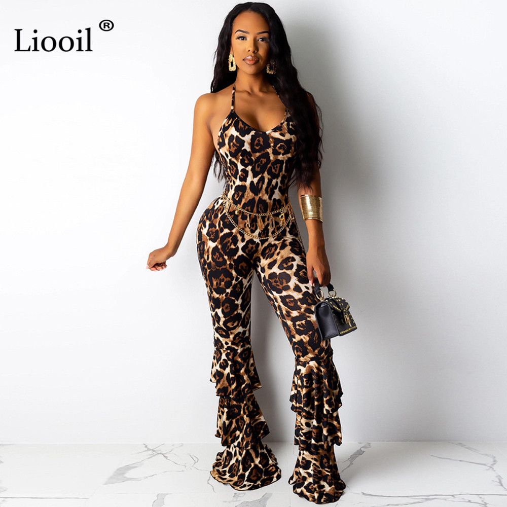 Liooil Flare-Jumpsuit Clubwear Tight Bell-Bottom Waist-Party Backless Leopard Long-Pants
