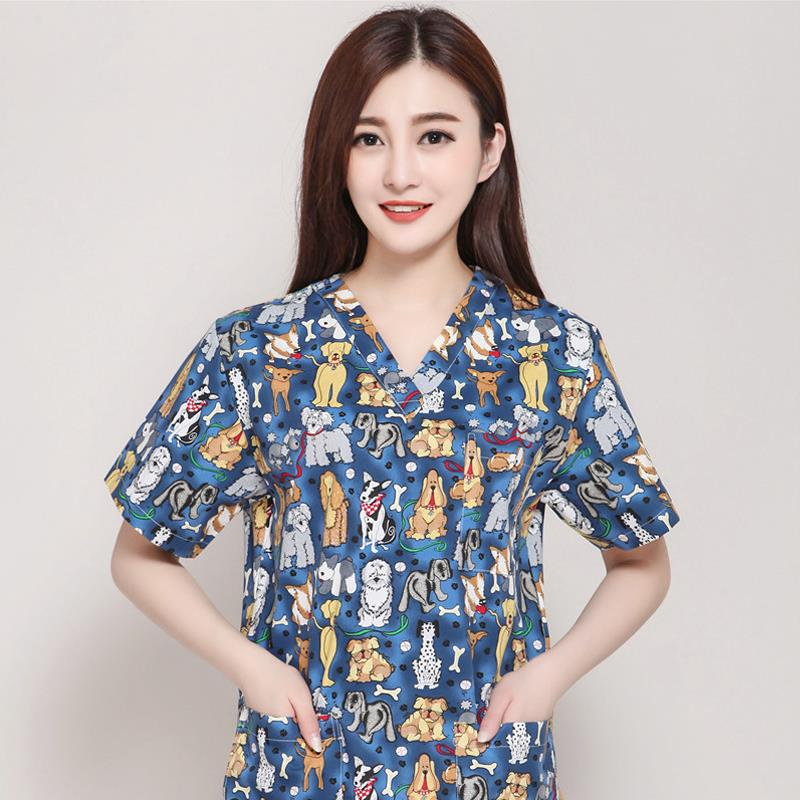 2020 Print Women Spring Summer Scrub Tops Short Sleeves Beautician Clothes Women Medical Suit Healty Overalls Doctor Uniform