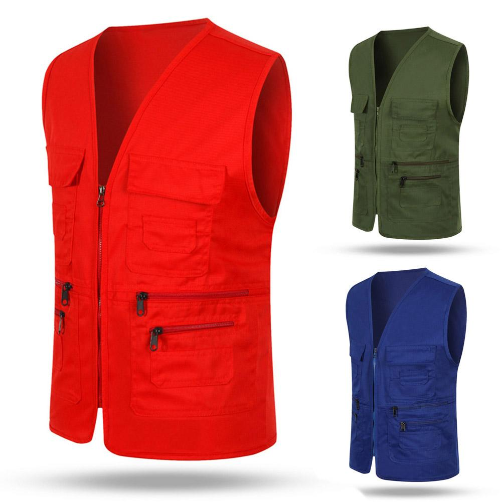Unisex Multi-Pocket Solid Color Waistcoat Work Fishing Photography Vest Jacket