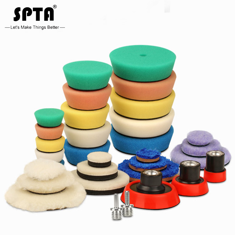 SPTA Detail Polishing Pad For Drill &polisher Buffing Buffer Kit + Backing Plate 5/8