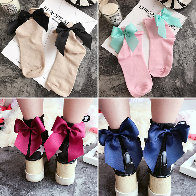 27 Colors.Chic Streetwear Women's Lovely Candy Color Bow Socks.Casual Female Contrast Color Short Socks.Cute Ladies Bow Knot Sox
