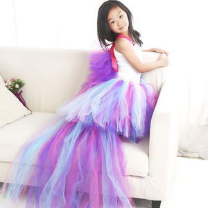 Image 4 - Girls Unicorn Rainbow Dress Halloween Costume Kids Party Tutu Dress with Long Tail Tulle Wing Little Horse Birthday Pony Dress