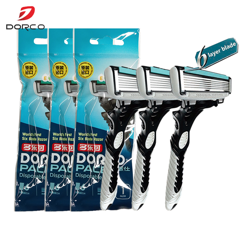 High Quality Original DORCO <font><b>Razor</b></font> Machine Shaver Pace6-Layer BladeStainless Steel Safety <font><b>Razor</b></font> for Men <font><b>3</b></font> Handles <font><b>3</b></font> <font><b>Blades</b></font> image