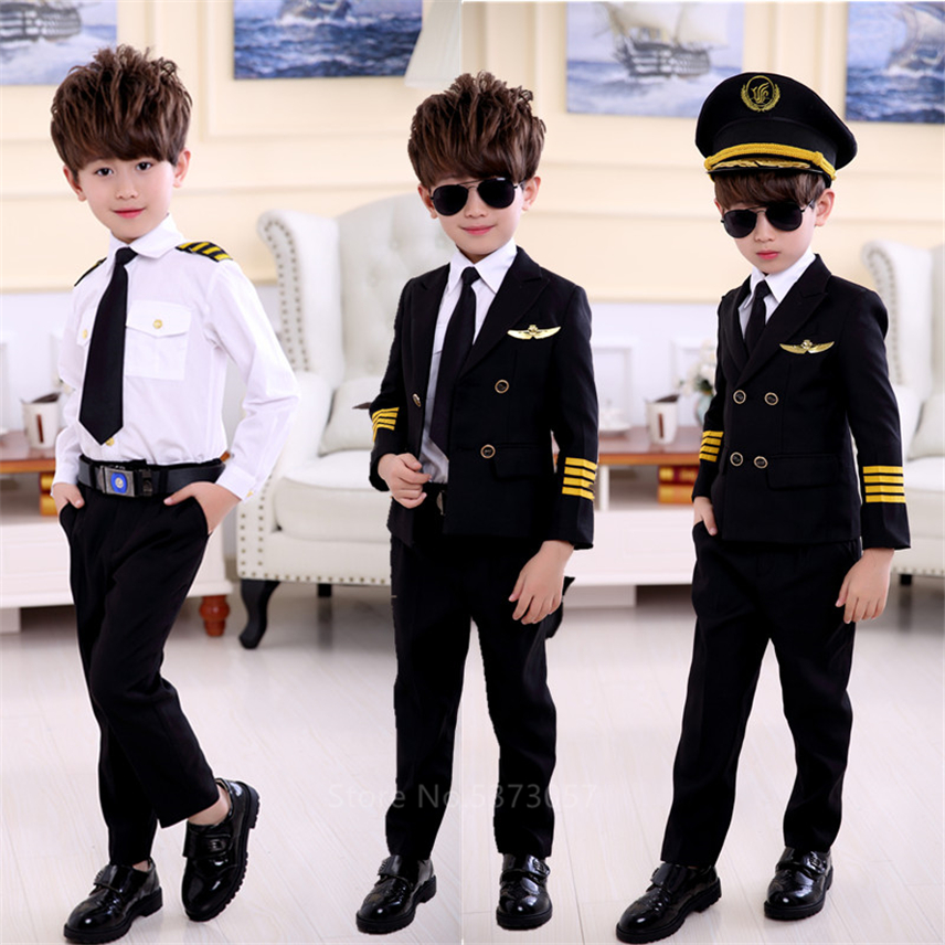 Halloween Costumes For Kids Aviation Uniforms Cosplay Pilot Flight Attendant Aircraft Boys Girls Carnival Role Play Clothing