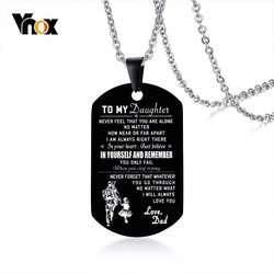 Vnox Men's Black Stainless Steel ID Necklaces Engraved Customize Info Tag Pendant Gifts for DAD Jewelry Dropshipping