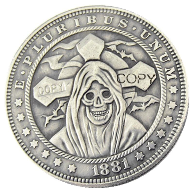 HOBO US 1881 Morgan Dollar skull zombie skeleton Copy Coins