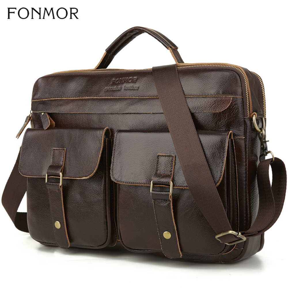 Fonmor New Men Genuine Cowhide Leather Laptop Handbag Zipper Male Business Two Hasp Pocket Soft Handle Briefcases Totes Bags Hot