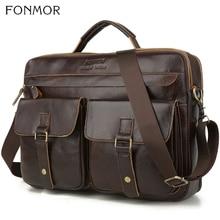Fonmor 新 100% 牛革ブリーフケース男性ビッグトートバッグ本革ハンドバッグジッパー男性ビジネス掛け金ポケットソフトハンドルバッグ