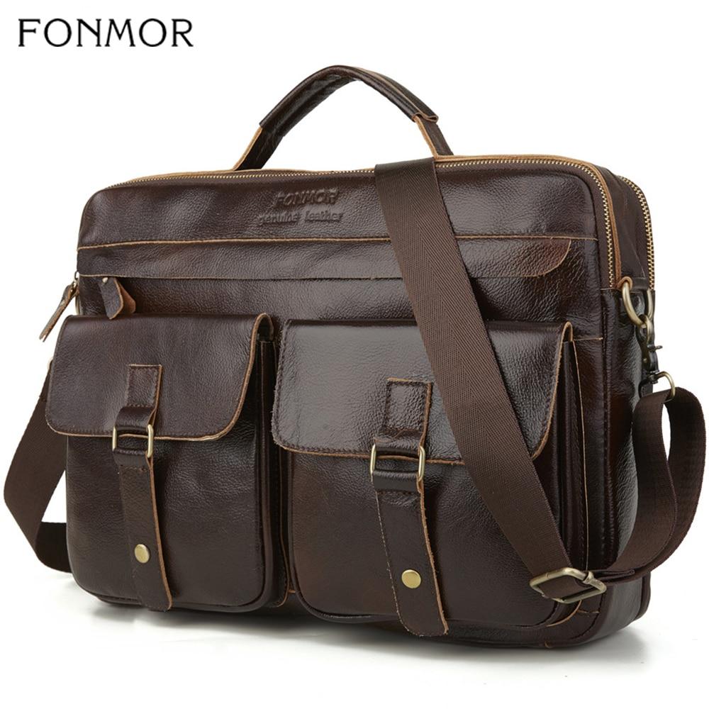 Fonmor New 100%Cowhide Briefcases Men Big Totes Genuine Leather Handbag Zipper Male Business Hasp Pocket Soft Handle Bags
