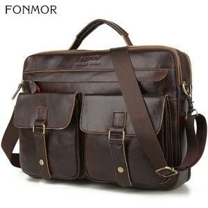 Image 1 - Fonmor New 100%Cowhide Briefcases Men Big Totes Genuine Leather Handbag Zipper Male Business Hasp Pocket Soft Handle Bags