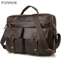Fonmor New 100%Cowhide Briefcases Men Big Totes Genuine Leather Handbag Zipper Male Business Hasp Pocket Soft Handle Bags