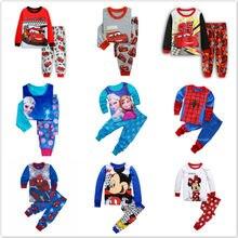 Zestaw dziecięcy piżamy dziecięce piżamy kreskówka myszka miki samochody Anna Spiderman piżamy Pijamas Baby Boy dziewczyna bawełniana bielizna nocna ubrania zestaw
