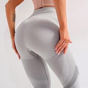 Image 4 - Wmuncc Yoga tayt spor pantolonları kadın spor enerji dikişsiz spor tayt yüksek bel Hollow Out seksi Push Up koşu sıkı