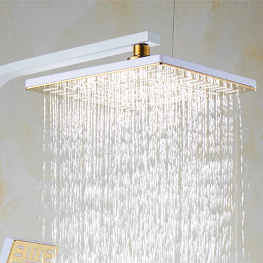 Thermostatic Shower ชุด 8 นิ้วสแควร์ Rainfall Spa Hand Shower HEAD สีดำ Bronze ระบบสีขาวทองดิจิตอลชุด