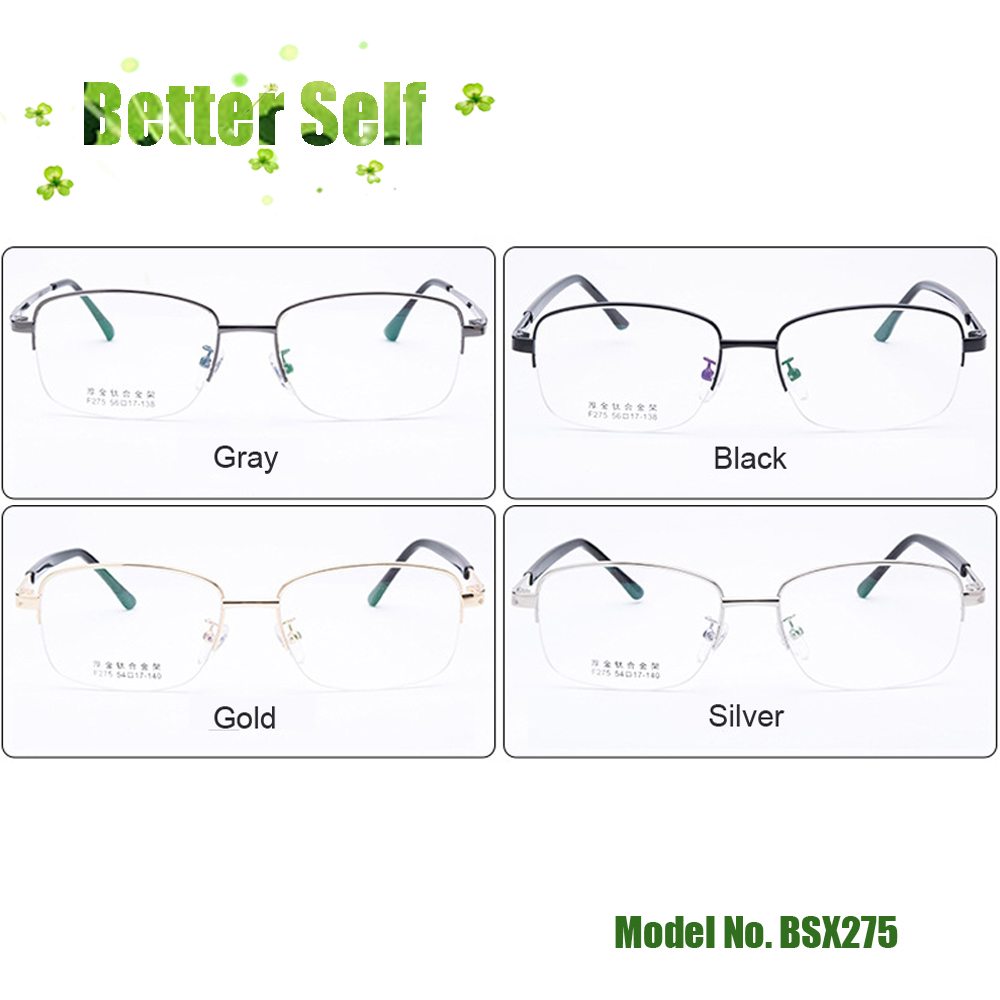 Half Rim Optical Glasses Frames BSX275 Men Big Face Korean Thick Gold Plating Spectacles Can Do Myopia Lens Slim Temples in Men 39 s Eyewear Frames from Apparel Accessories