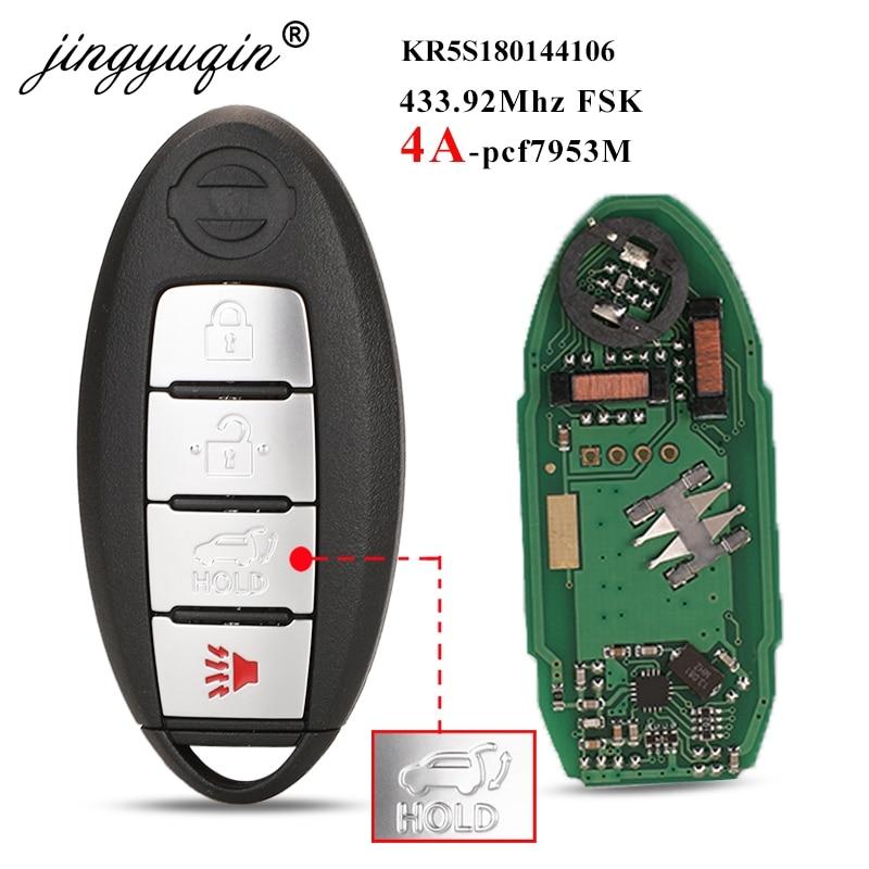 jingyuqin S180144106 433MHz 4A-PCF7953M Keyless Smart Remote Car Key Fob For Nissan Rogue X-Trail 2014 2015 2016 KR5S180144106