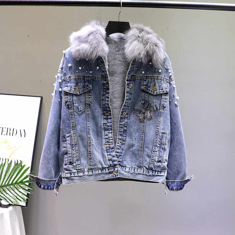 Winter denim real fur parkas overcome thick warm real fur collar detachable liner beaded oversize with velvet warm coat F94