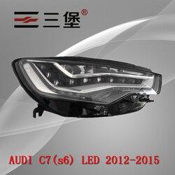 Made for AUDI A6L C7(s6) LED 2012-2015 headlights housing plastic black-shell headlamp backseat lamp