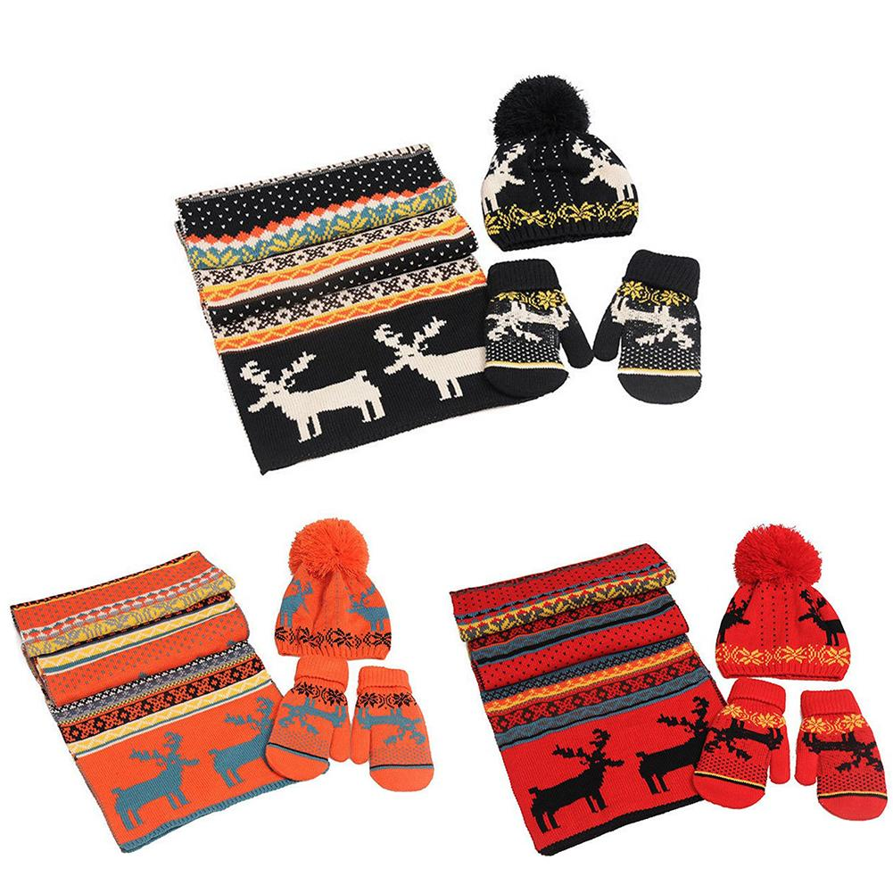 Winter Hat Scarf Gloves Sets Women's Clothing Scarf Gloves Hat 3 Piece Set Wool Lining Thick Warm Deer Christmas Costume Gift