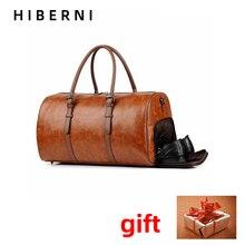 Men's leather travel bag retro big suitcase shoes compartment black brown PU leather travel bag portable fashion duffel bag