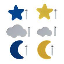 Children Room Knobs Soft Rubber Handles Star Moon Cloud Furniture Drawer Pulls