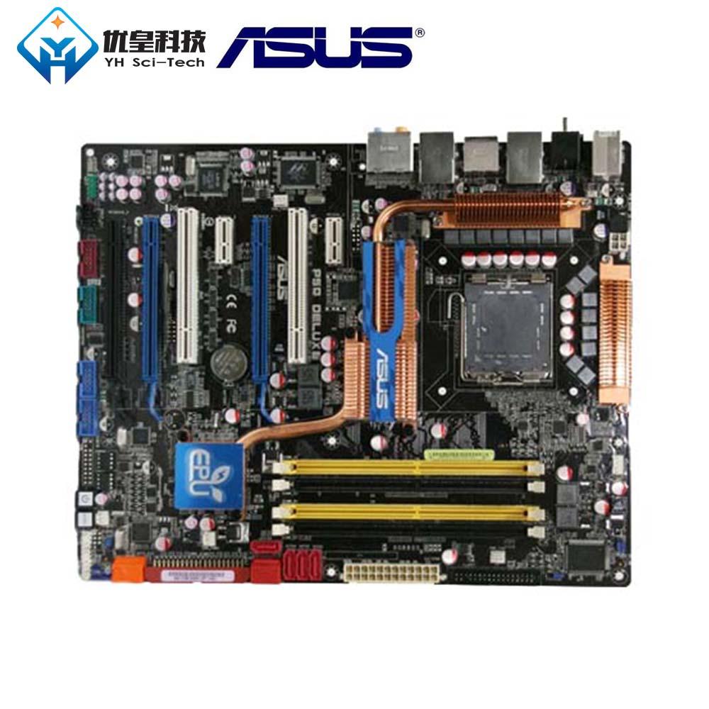 Original Used Desktop Motherboard Intel P45 Asus P5Q Deluxe Socket LGA 775 Core 2 Extreme/Core 2 Quad DDR2 ATX