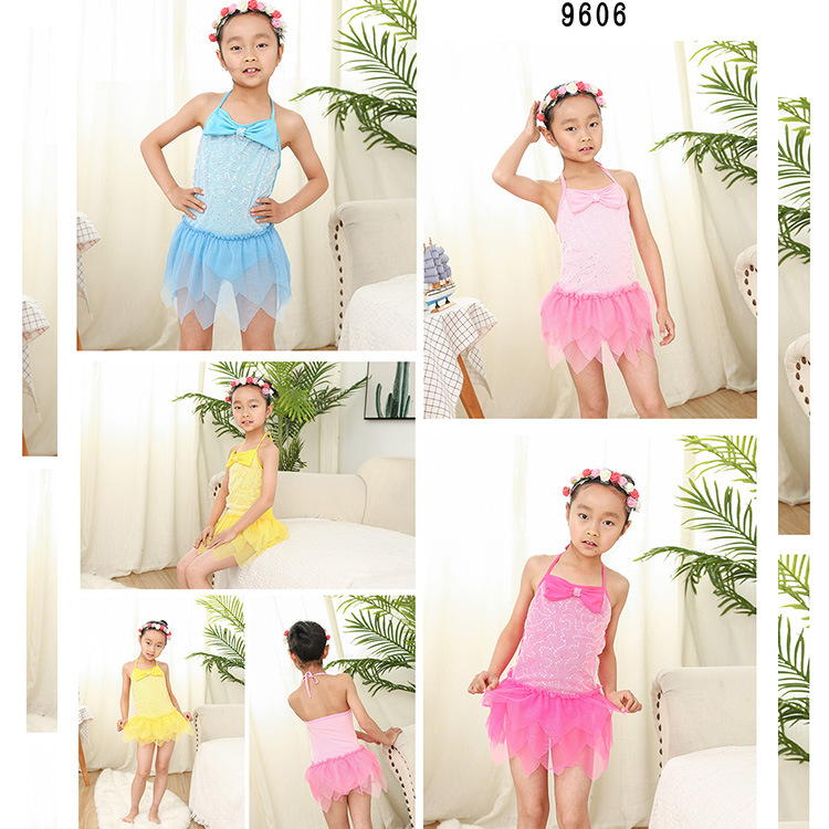 Hot Selling One-piece KID'S Swimwear Floral Children WOMEN'S Swimsuit (6-10-Year-Old) Tour Bathing Suit 9606 No