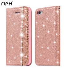 NFH Cute Bling Glitter Flip Phone Case For iPhone 5 5S 6 6S Plus Diamond PU Leather Cover Stand Case on 5S SE 7 8 Plus Housing retro skull island pattern protective pu leather case w stand for iphone 5 5s white coffee