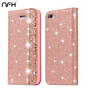 NFH Cute Bling Glitter Flip Phone Case For iPhone 5 5S 6 6S Plus Diamond PU Leather Cover Stand Case on 5S SE 7 8 Plus Housing