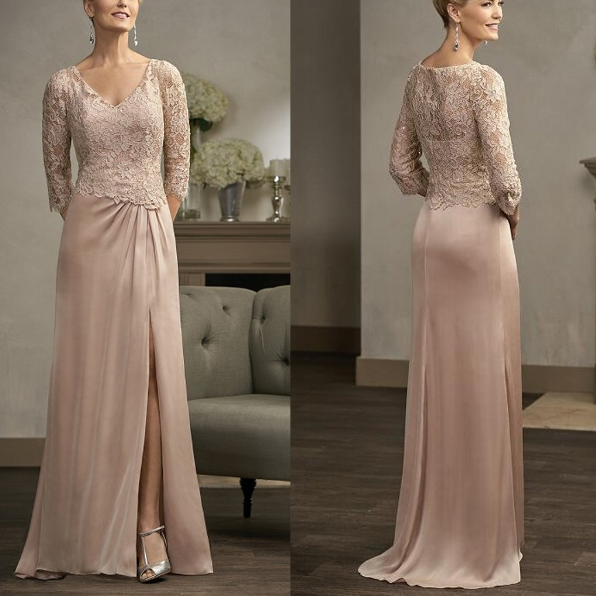 A-Line Pink Chiffon Lace Full-Length Sweep Train Mother Of The Bride Dresses Plus Size Groom Godmother Evening Dresses