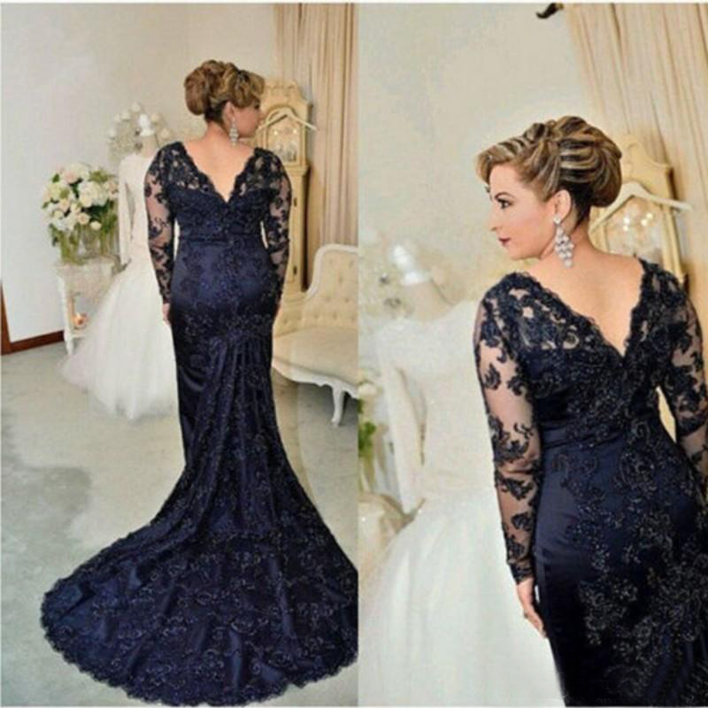 Blue Mother Of The Bride Dresses Mermaid V-neck Long Sleeves Appliques Beaded Plus Size Long Groom Mother Dresses For Wedding