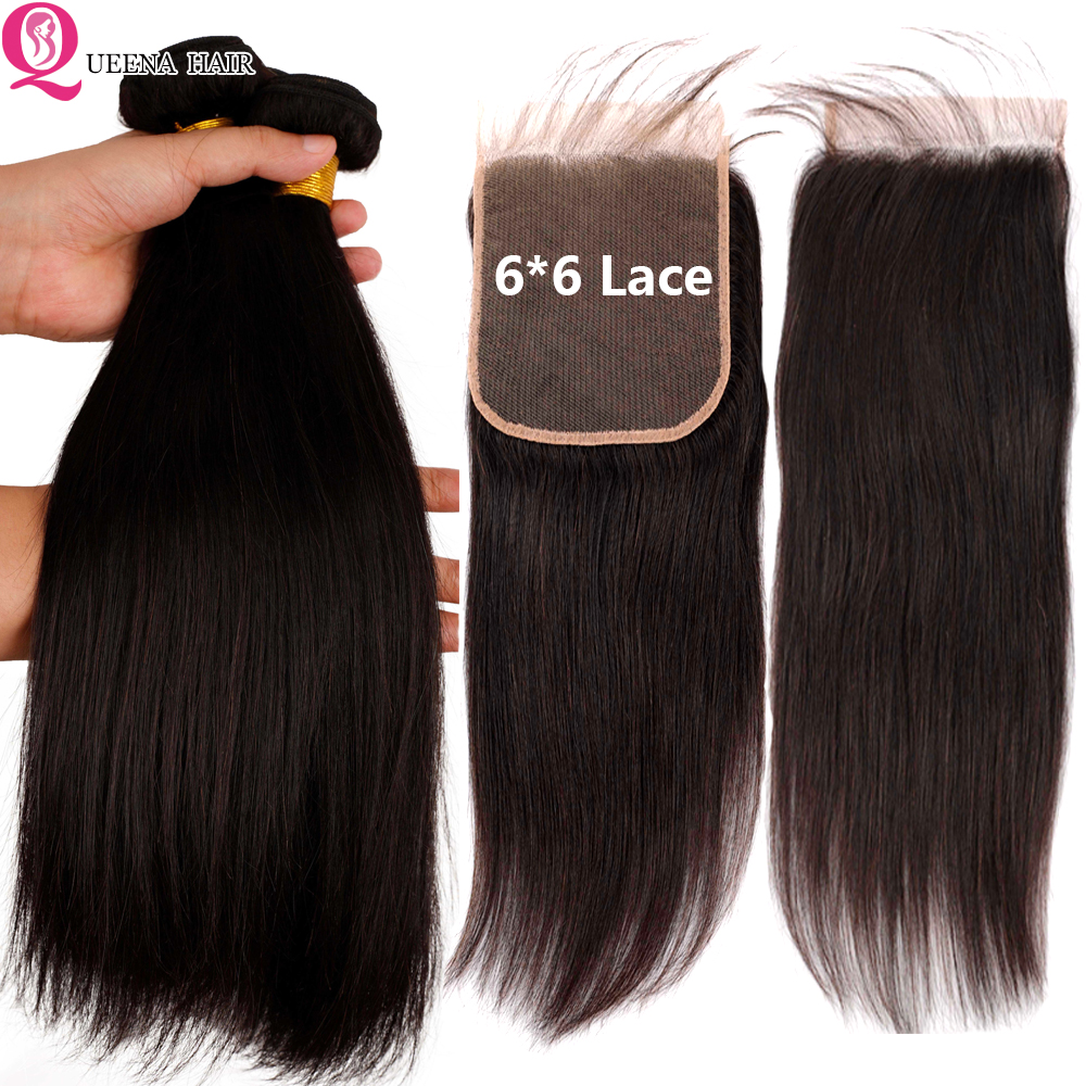 6*6 Lace Closure With Brazilian Hair Weave Bundles Straight 3 Bundles With 6x6 Closure Pre Plucked Remy Human Hair Extensions