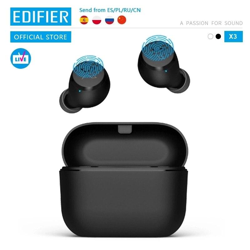EDIFIER X3 наушники-вкладыши TWS с Беспроводной Bluetooth наушники bluetooth 5,0 голосовой помощник сенсорное управление голосовой помощник до 24hrs воспроиз...