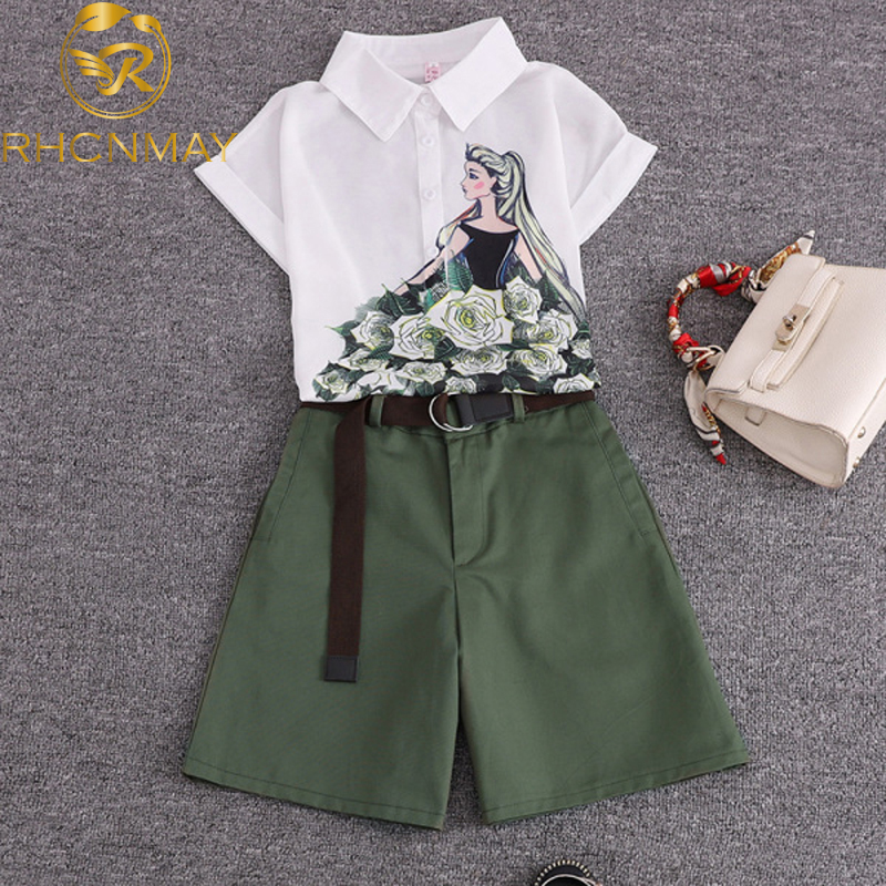 2020 Summer 2 Pieces Suits Girl Print Chiffon Blouse Shirt Women Tops + Shorts Set Women Two Piece Set Tracksuit With Belt