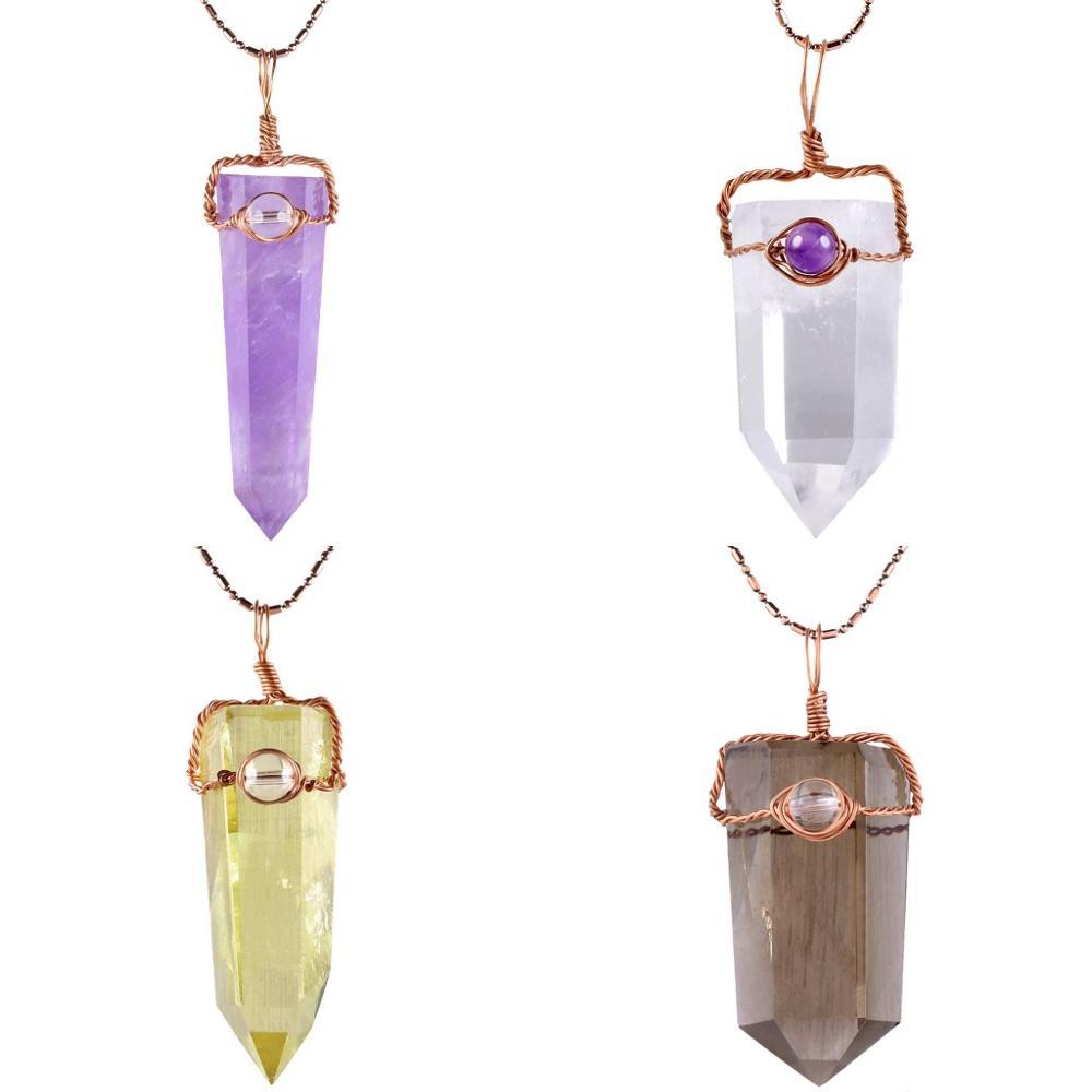 Gemstone Hexagonal Prism Quartz Crystal Healing Point Pendant Fit Necklace Gift