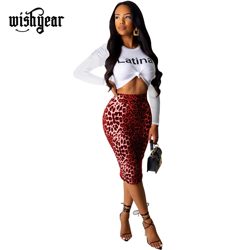 Wishyear2019 Autumn Women Casual Two Piece Set Letter Print O Neck Long Sleeve T Shirt Crop Top Midi Bodycon Skirt Fashion Suits