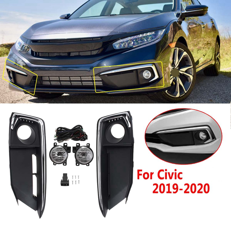 Car Front Bumper Fog Light Lamp Set With Harness Switch Set Kit For Honda Civic 2019 2020