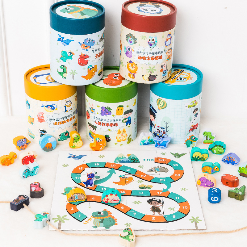 Wooden Barrel Animal Traffic Building Blocks Beaded Bracelet 0.5 Children'S Educational Early Childhood Lettered With Numbers Co