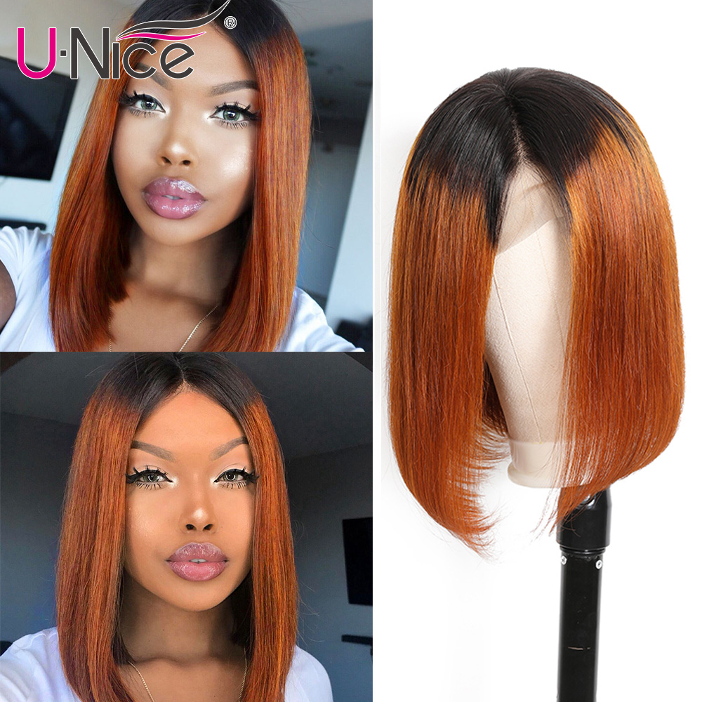 Unice Hair 13*4 Straight Bob Ombre T1B30 Human Hair Wigs 8-14 Inch Pre Plucked Remy Hair  Lace Front Wig