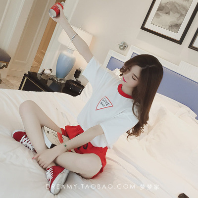 Korean-style Loose Casual WOMEN'S Suit Middle School Students Summer Embroidered Morning Run Sports Clothing Running Short Sleev