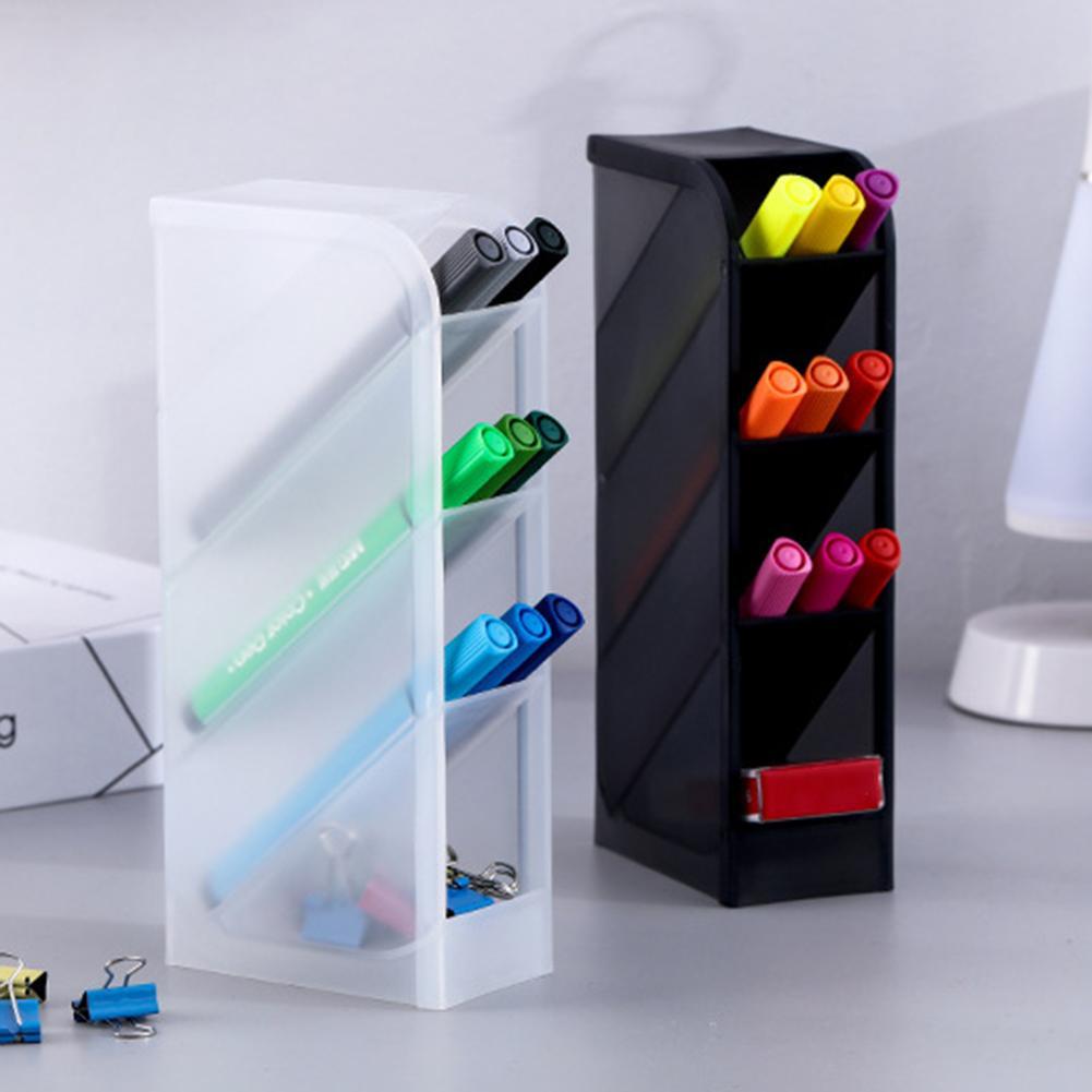 4 Grid Desktop Pen Holder Pencil Makeup Brush Cosmetic Storage Organizer Box Storage Container Large Capacity Home Office Storag