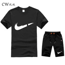 Summer Hot Sale Mens Sets T Shirts+Shorts Two Pieces Casual Tracksuit Male 2019 New Tshirt Gyms Fitness Shorts men