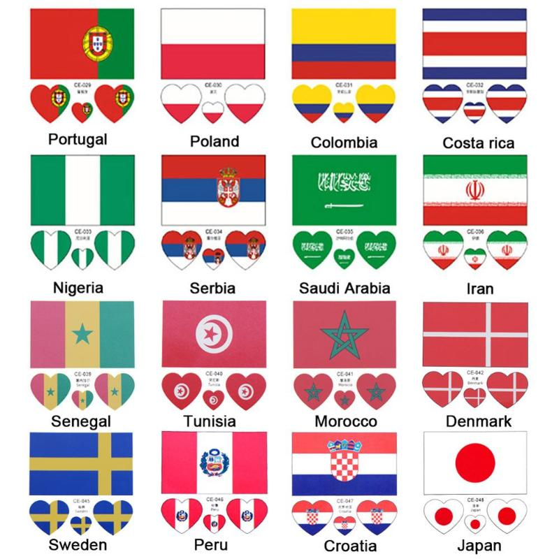 Countries Face Stickers For Football World Cup Disposable Waterproof National Flag Face Tattoo Stickers