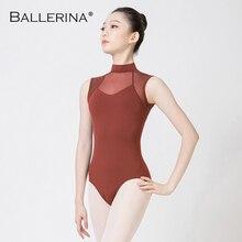 Ballerina ballett trikot für frauen Dance Kostüm Sexy aerialist Mesh Rollkragen Sleeveless gymnastik trikot 5686