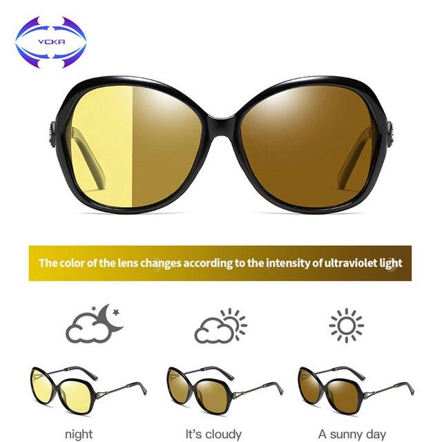 VCKA 特大女性デイナイトビジョンサングラス偏光フォトクロミック変色レンズアンチグレア黄色ゴーグル