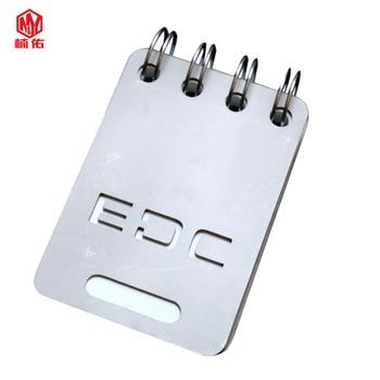 EDC herramienta de aleación de titanio portátil Shell duro a prueba de agua Bloc de notas al aire libre cuenta libro con papel cambiable