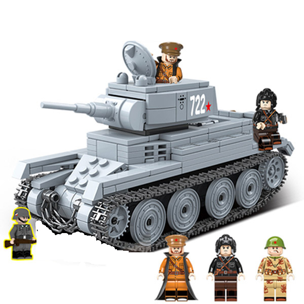 462pcs New Sale LegoINGlys Military WW2 BT-7 Light Cavalry Tank Forces Figure Building Block World War Toys Children Gift 100084