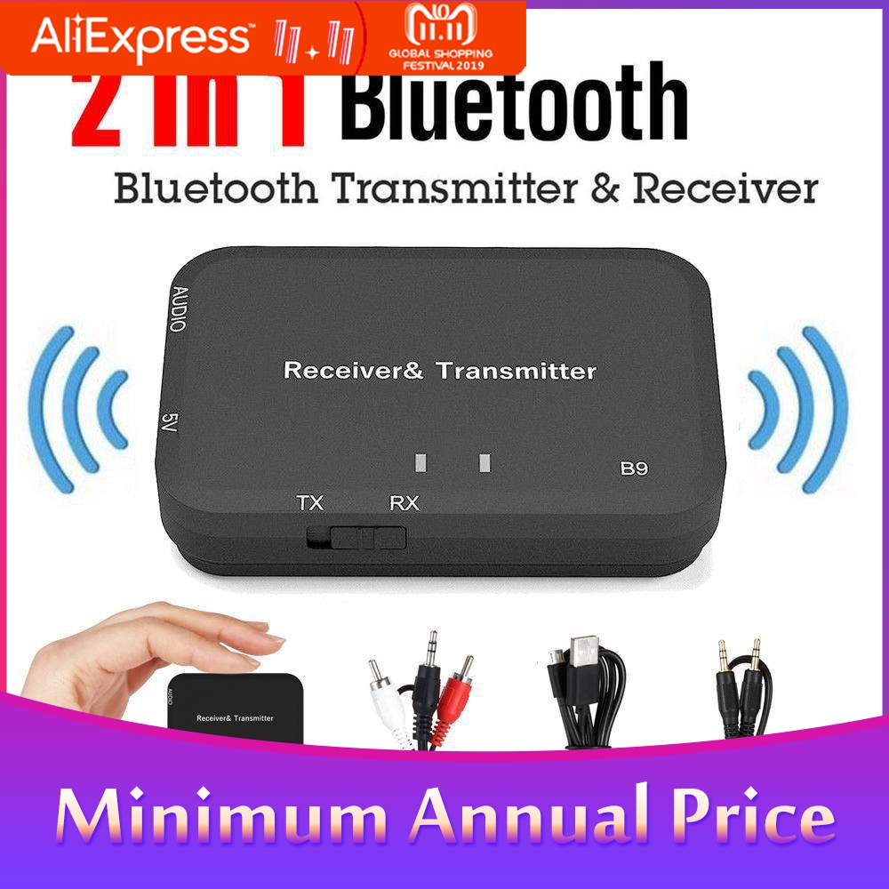 2 In 1 V4.2 Bluetooth Transmitter Receiver Adapter+Audio Cable 3.5mm + USB Charger Cable + RCA Cable Audio Bluetooth Adapter 4.2