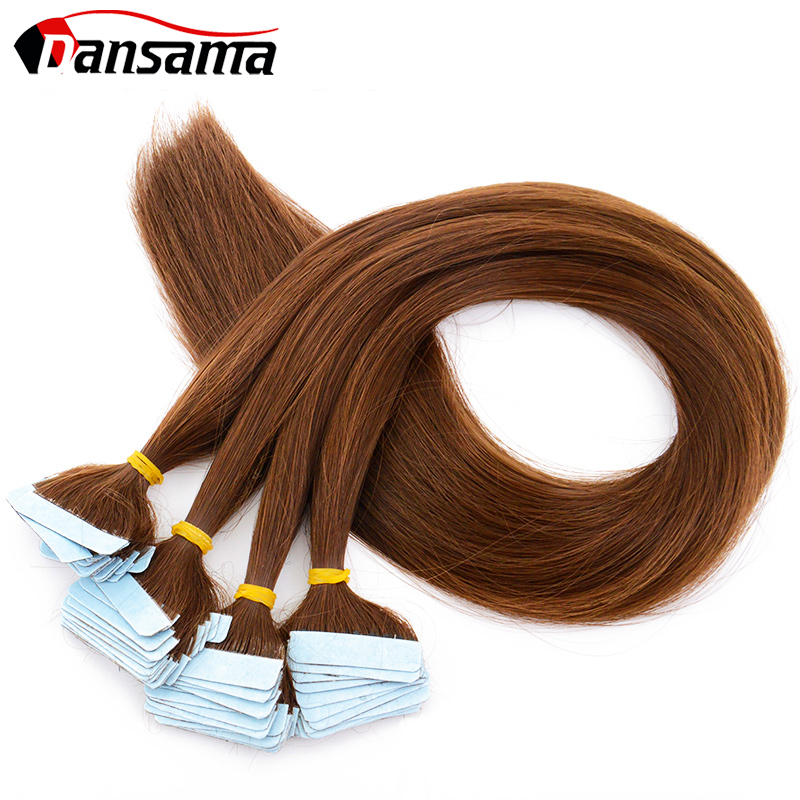 Dansama Tape Hair Extensions Natural Skin Weft Synthetic Hair Weaving 22 Inch Double Sided Adhesive Silky Straight Black Blonde